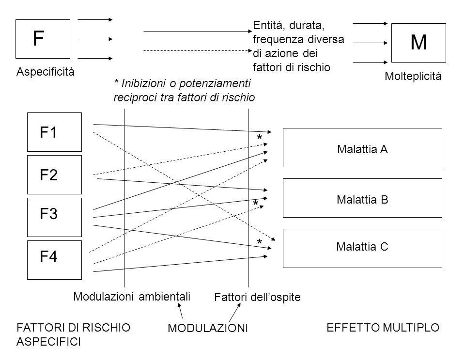 F Entità, durata, frequenza diversa di azione dei fattori di rischio M Aspecificità Molteplicità * Inibizioni o potenziamenti reciproci tra fattori di