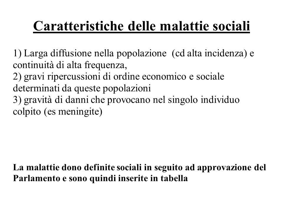Caratteristiche delle malattie sociali 1) Larga diffusione nella popolazione (cd alta incidenza) e continuità di alta frequenza, 2) gravi ripercussion
