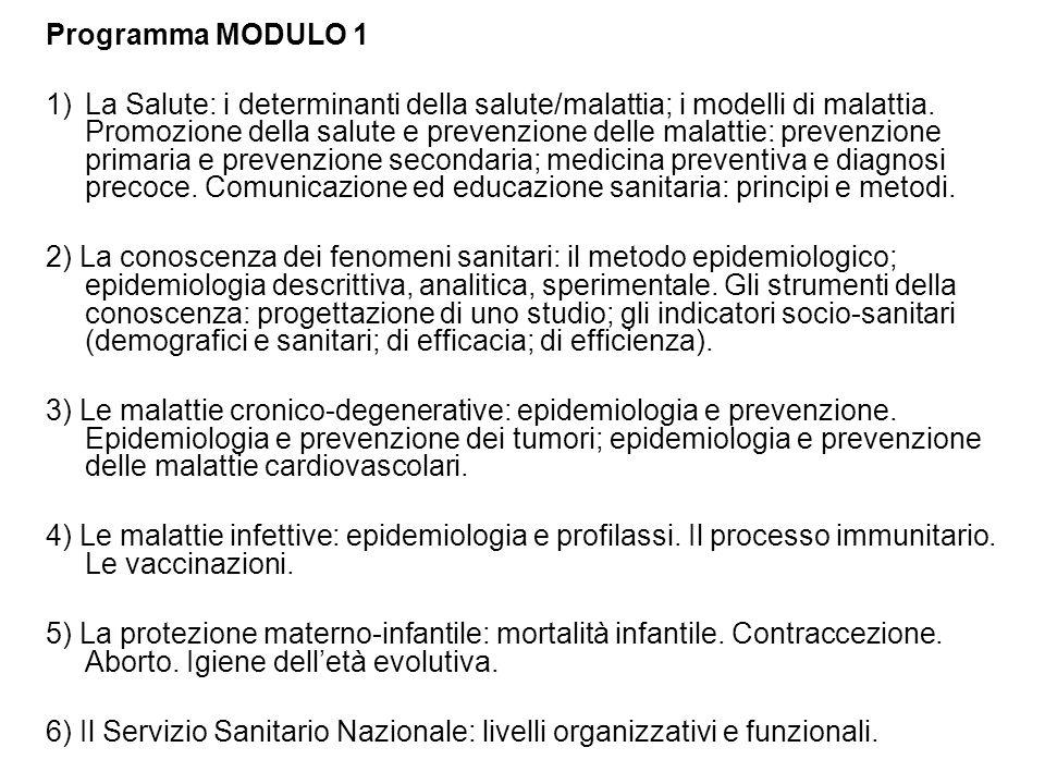 Programma MODULO 1 1)La Salute: i determinanti della salute/malattia; i modelli di malattia. Promozione della salute e prevenzione delle malattie: pre