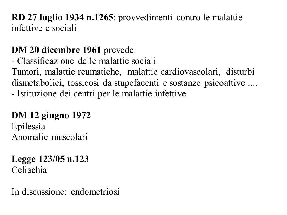 RD 27 luglio 1934 n.1265: provvedimenti contro le malattie infettive e sociali DM 20 dicembre 1961 prevede: - Classificazione delle malattie sociali T