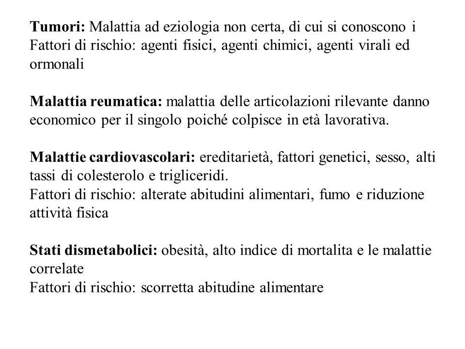 Tumori: Malattia ad eziologia non certa, di cui si conoscono i Fattori di rischio: agenti fisici, agenti chimici, agenti virali ed ormonali Malattia r