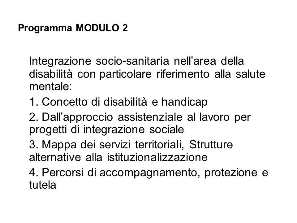 Programma MODULO 2 Integrazione socio-sanitaria nellarea della disabilità con particolare riferimento alla salute mentale: 1. Concetto di disabilità e