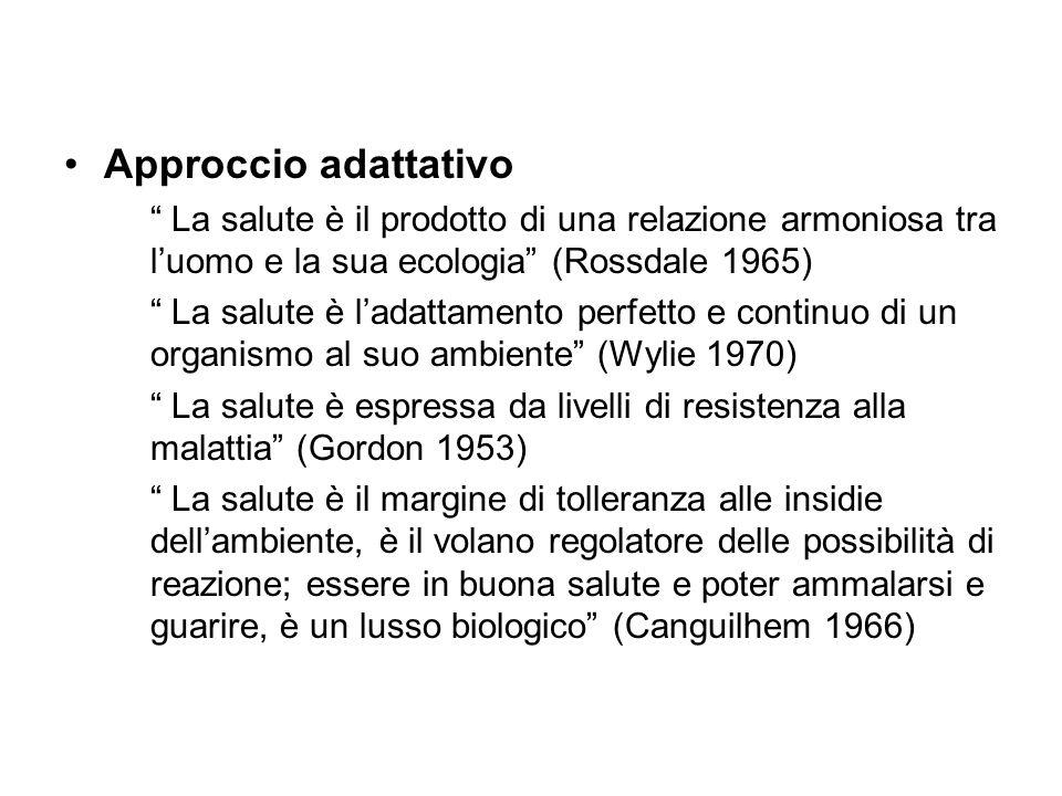 Approccio adattativo La salute è il prodotto di una relazione armoniosa tra luomo e la sua ecologia (Rossdale 1965) La salute è ladattamento perfetto