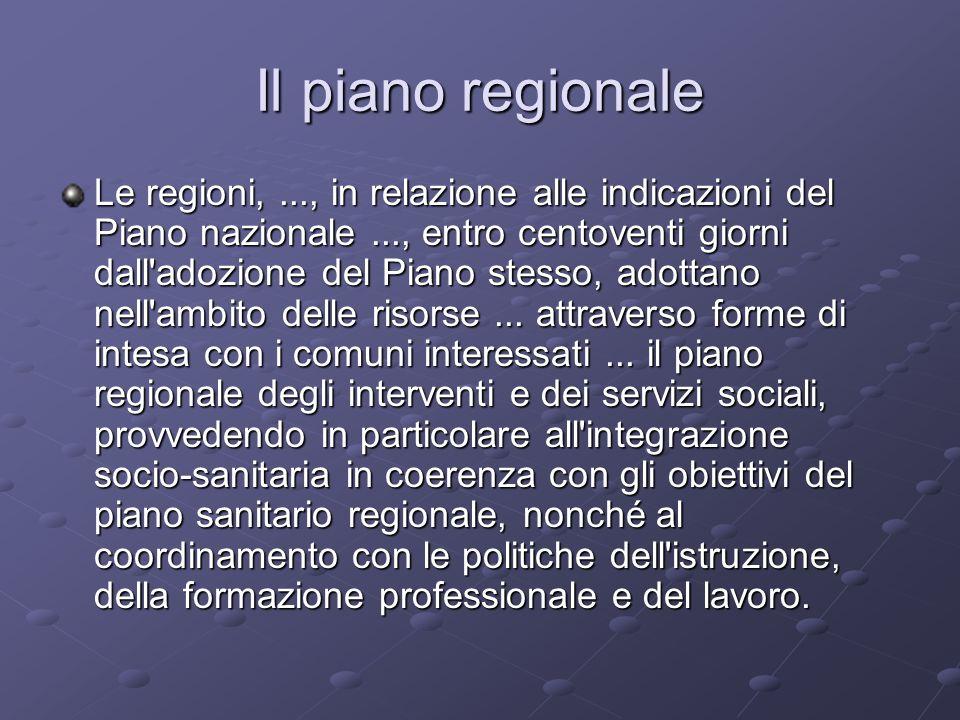 Il piano regionale Le regioni,..., in relazione alle indicazioni del Piano nazionale..., entro centoventi giorni dall adozione del Piano stesso, adottano nell ambito delle risorse...
