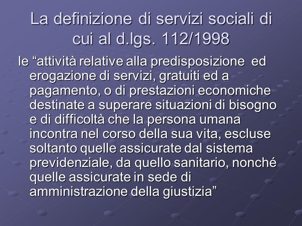 La definizione di servizi sociali di cui al d.lgs.