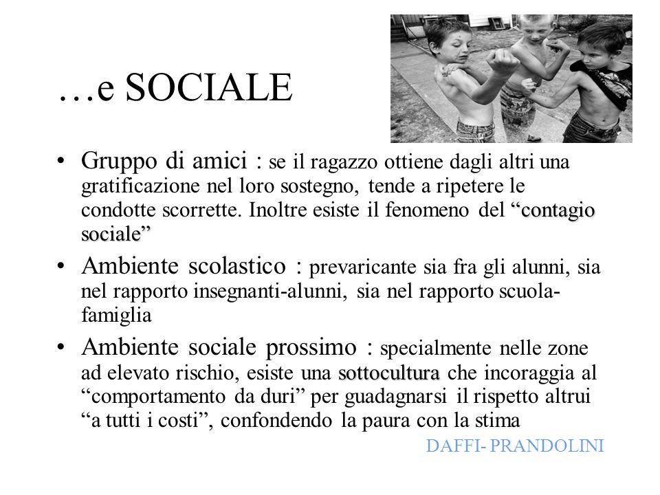 …e SOCIALE contagio socialeGruppo di amici : se il ragazzo ottiene dagli altri una gratificazione nel loro sostegno, tende a ripetere le condotte scor