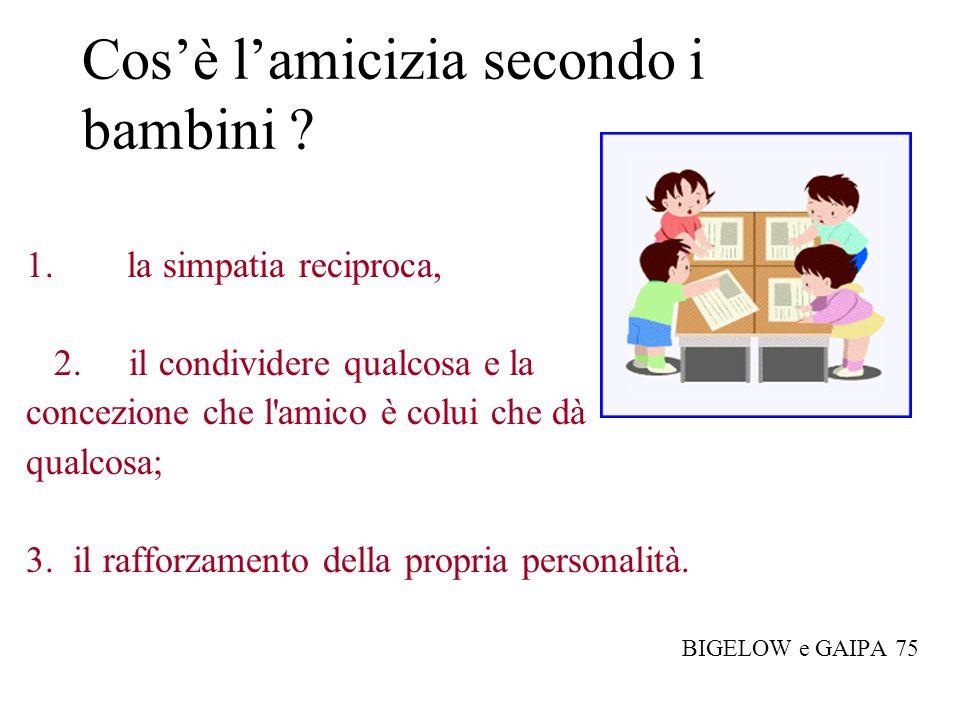 Cosè lamicizia secondo i bambini ? 1. la simpatia reciproca, 2. il condividere qualcosa e la concezione che l'amico è colui che dà qualcosa; 3. il raf