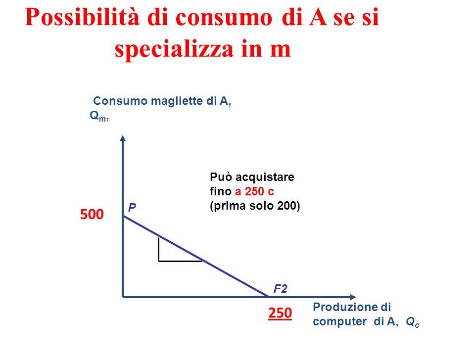 Possibilità di consumo di A se si specializza in m Consumo magliette di A, Q m, Produzione di computer di A, Q c F2 P 500 250 Può acquistare fino a 250 c (prima solo 200)
