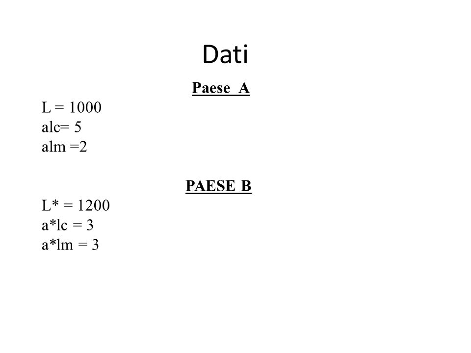 Dati Paese A L = 1000 alc= 5 alm =2 PAESE B L* = 1200 a*lc = 3 a*lm = 3