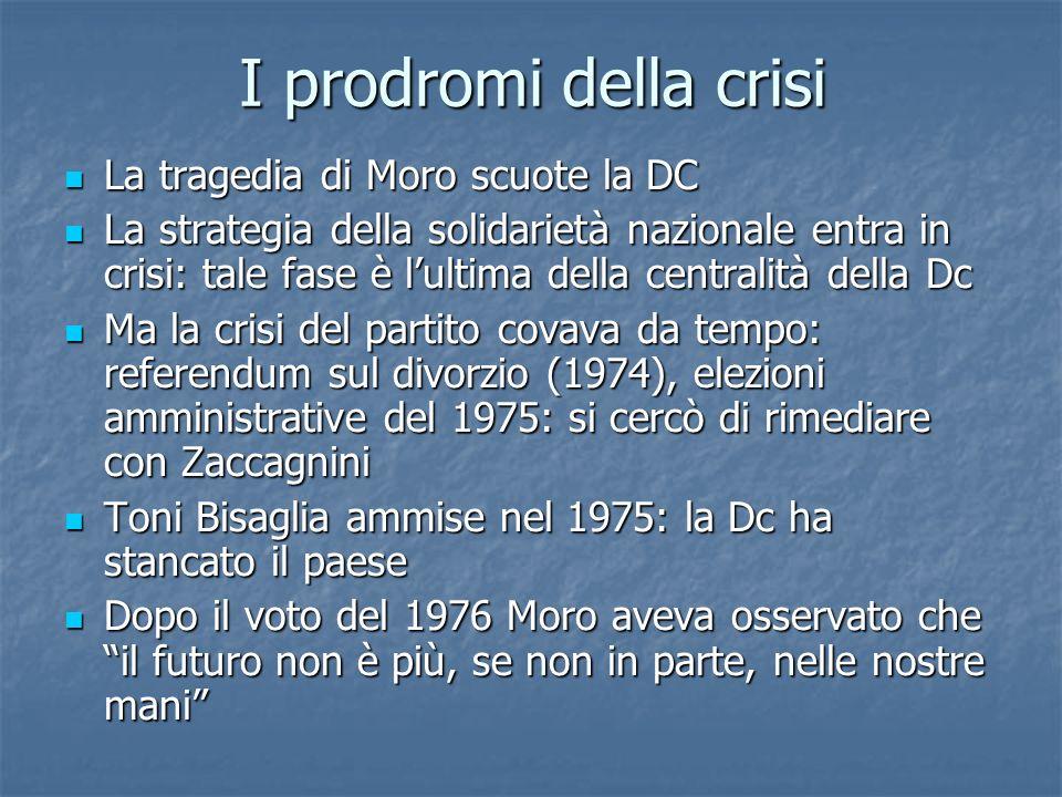 I prodromi della crisi La tragedia di Moro scuote la DC La tragedia di Moro scuote la DC La strategia della solidarietà nazionale entra in crisi: tale fase è lultima della centralità della Dc La strategia della solidarietà nazionale entra in crisi: tale fase è lultima della centralità della Dc Ma la crisi del partito covava da tempo: referendum sul divorzio (1974), elezioni amministrative del 1975: si cercò di rimediare con Zaccagnini Ma la crisi del partito covava da tempo: referendum sul divorzio (1974), elezioni amministrative del 1975: si cercò di rimediare con Zaccagnini Toni Bisaglia ammise nel 1975: la Dc ha stancato il paese Toni Bisaglia ammise nel 1975: la Dc ha stancato il paese Dopo il voto del 1976 Moro aveva osservato che il futuro non è più, se non in parte, nelle nostre mani Dopo il voto del 1976 Moro aveva osservato che il futuro non è più, se non in parte, nelle nostre mani