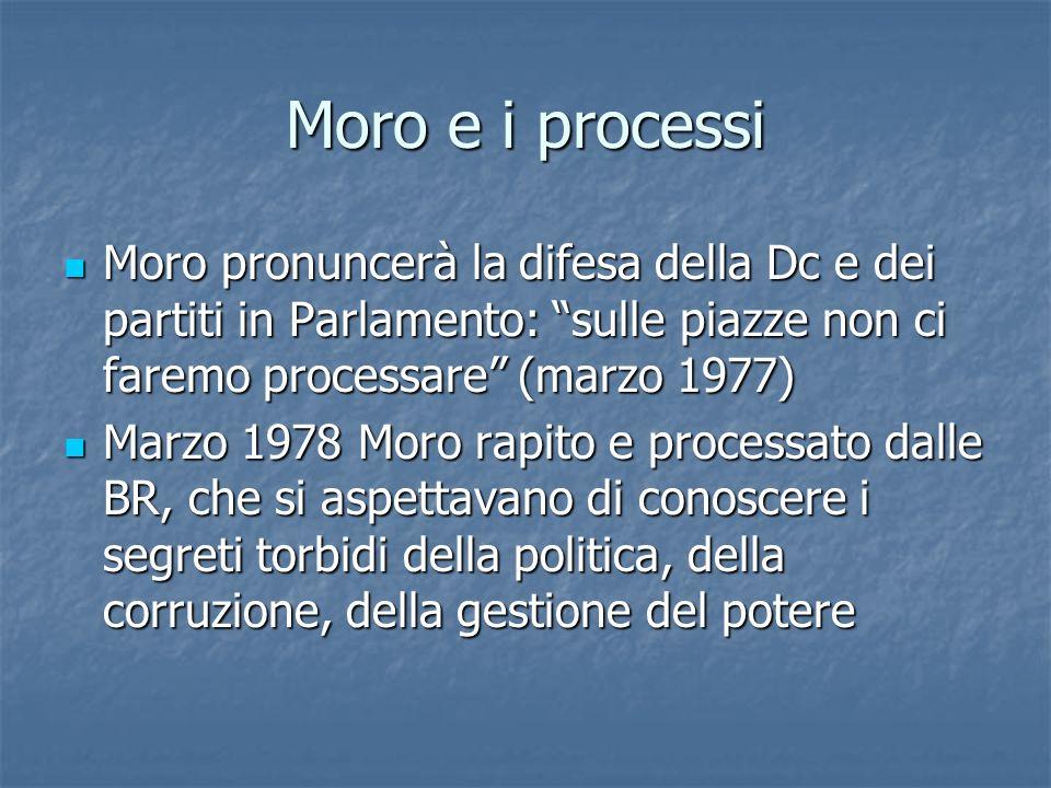 Moro e i processi Moro pronuncerà la difesa della Dc e dei partiti in Parlamento: sulle piazze non ci faremo processare (marzo 1977) Moro pronuncerà l