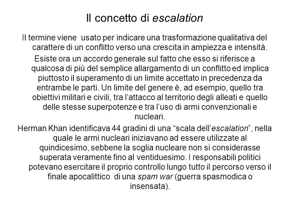 Il concetto di escalation Il termine viene usato per indicare una trasformazione qualitativa del carattere di un conflitto verso una crescita in ampiezza e intensità.