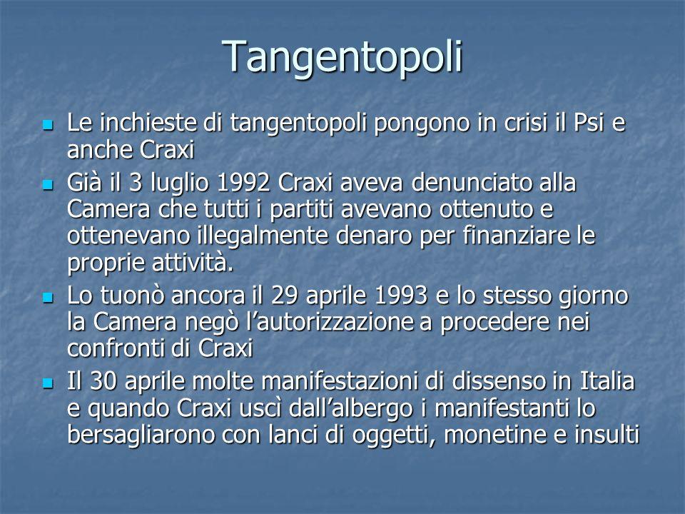 Tangentopoli Le inchieste di tangentopoli pongono in crisi il Psi e anche Craxi Le inchieste di tangentopoli pongono in crisi il Psi e anche Craxi Già