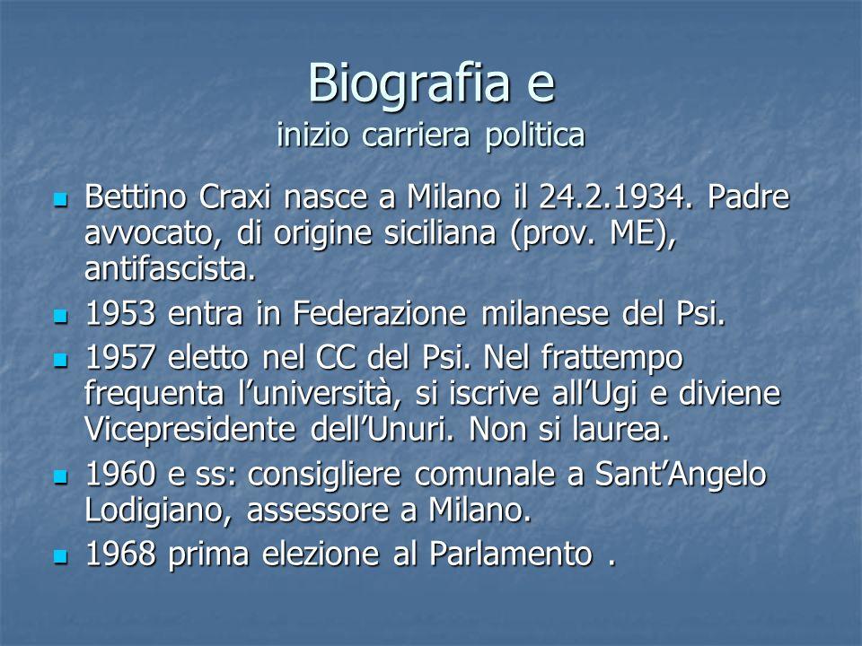 Biografia e inizio carriera politica Bettino Craxi nasce a Milano il 24.2.1934. Padre avvocato, di origine siciliana (prov. ME), antifascista. Bettino