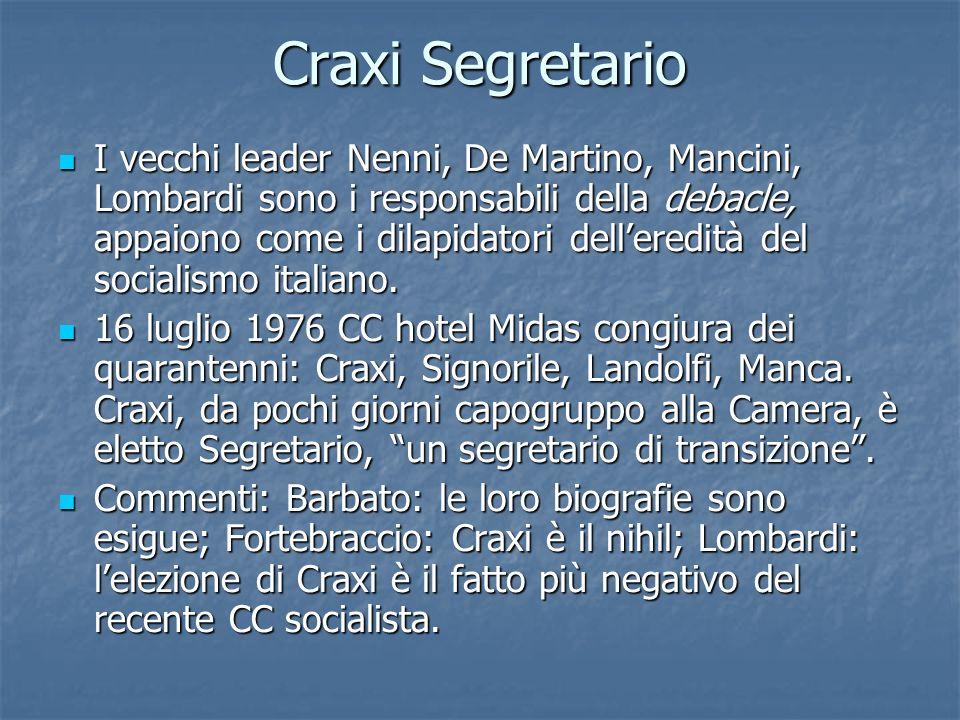 Craxi Segretario I vecchi leader Nenni, De Martino, Mancini, Lombardi sono i responsabili della debacle, appaiono come i dilapidatori delleredità del