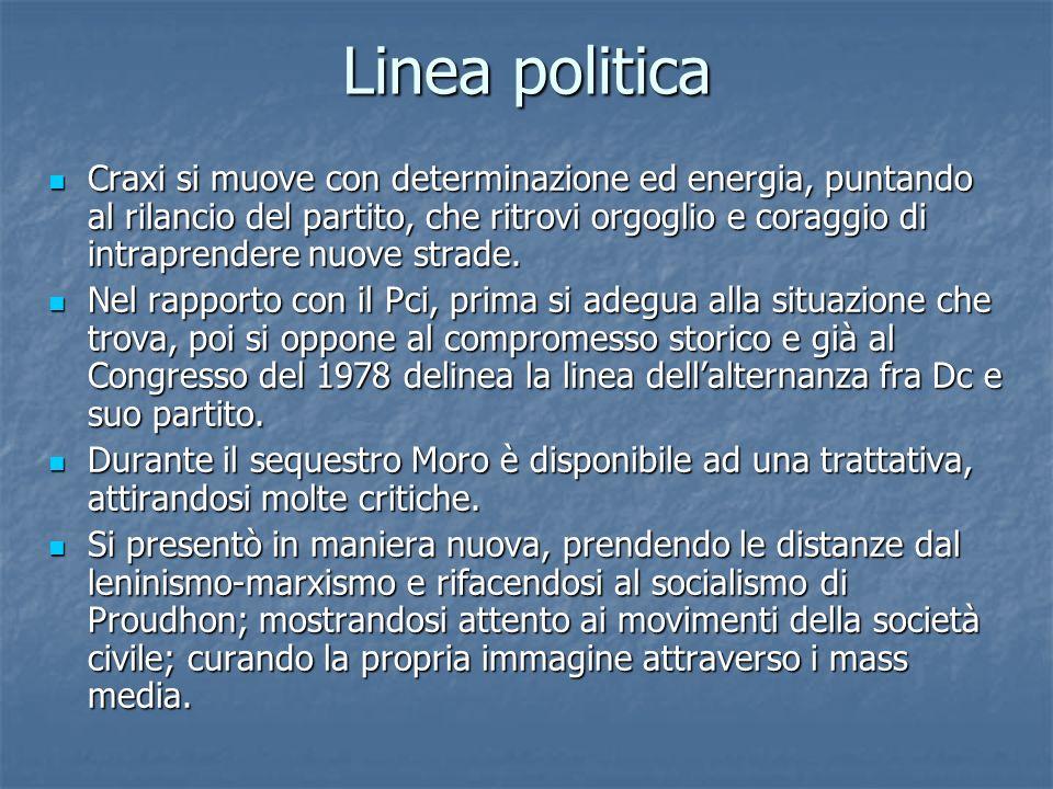 Linea politica Craxi si muove con determinazione ed energia, puntando al rilancio del partito, che ritrovi orgoglio e coraggio di intraprendere nuove