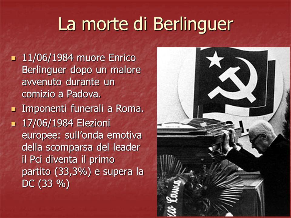 La morte di Berlinguer 11/06/1984 muore Enrico Berlinguer dopo un malore avvenuto durante un comizio a Padova. 11/06/1984 muore Enrico Berlinguer dopo
