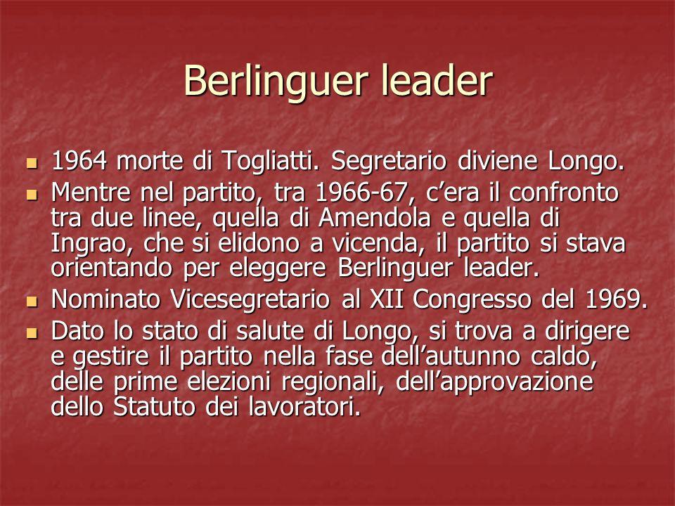 Berlinguer leader 1964 morte di Togliatti. Segretario diviene Longo. 1964 morte di Togliatti. Segretario diviene Longo. Mentre nel partito, tra 1966-6