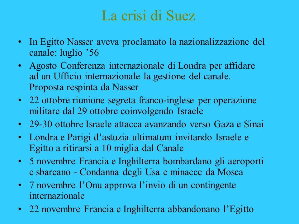 La crisi di Suez In Egitto Nasser aveva proclamato la nazionalizzazione del canale: luglio 56 Agosto Conferenza internazionale di Londra per affidare
