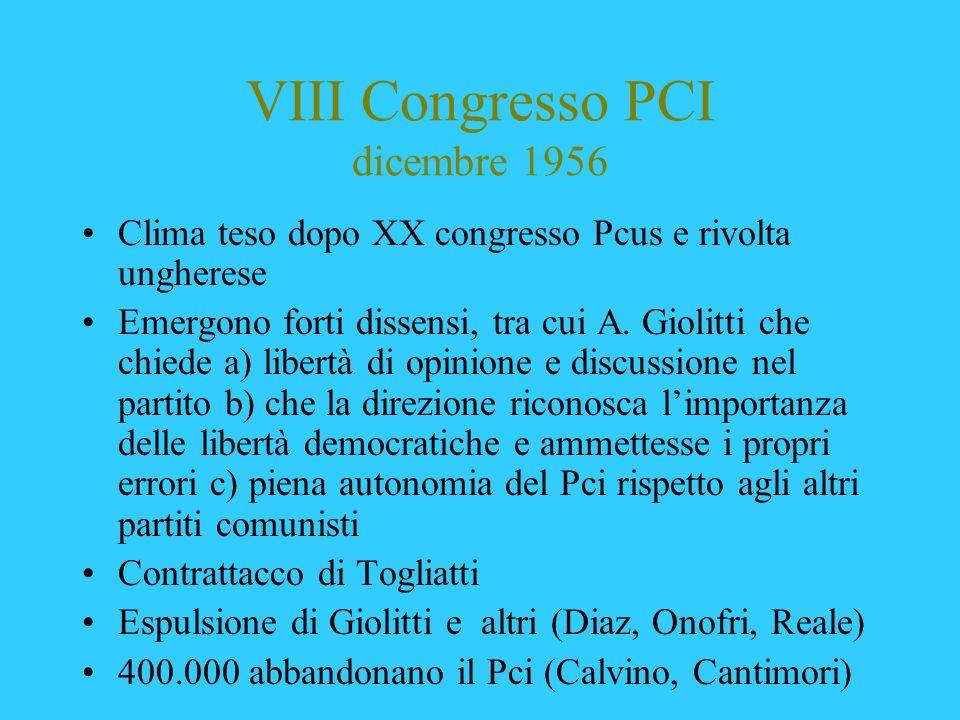 VIII Congresso PCI dicembre 1956 Clima teso dopo XX congresso Pcus e rivolta ungherese Emergono forti dissensi, tra cui A. Giolitti che chiede a) libe