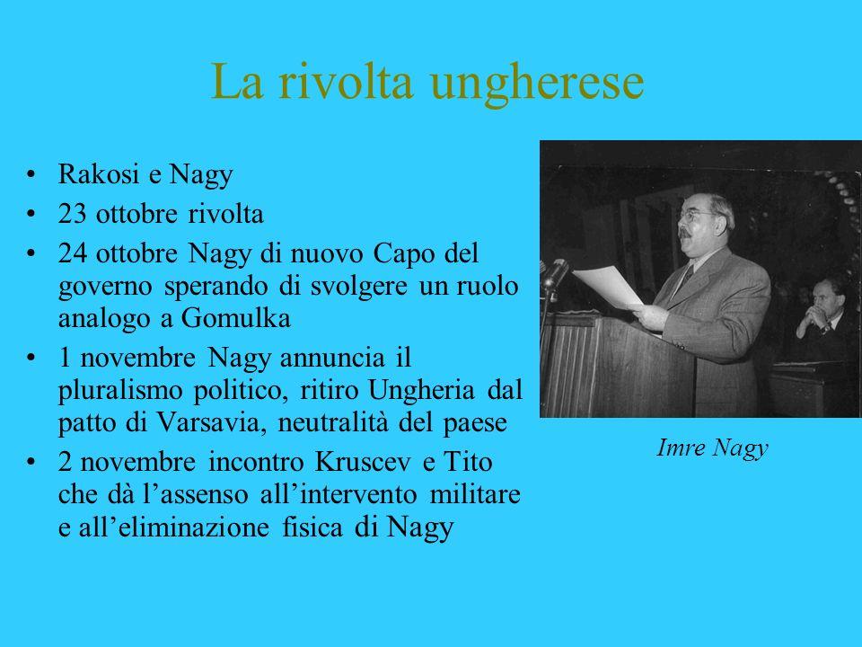 La rivolta ungherese Rakosi e Nagy 23 ottobre rivolta 24 ottobre Nagy di nuovo Capo del governo sperando di svolgere un ruolo analogo a Gomulka 1 nove