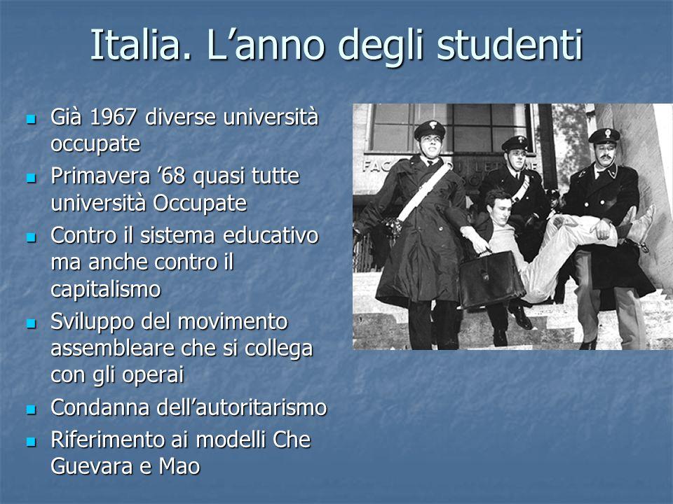 Italia. Lanno degli studenti Già 1967 diverse università occupate Già 1967 diverse università occupate Primavera 68 quasi tutte università Occupate Pr