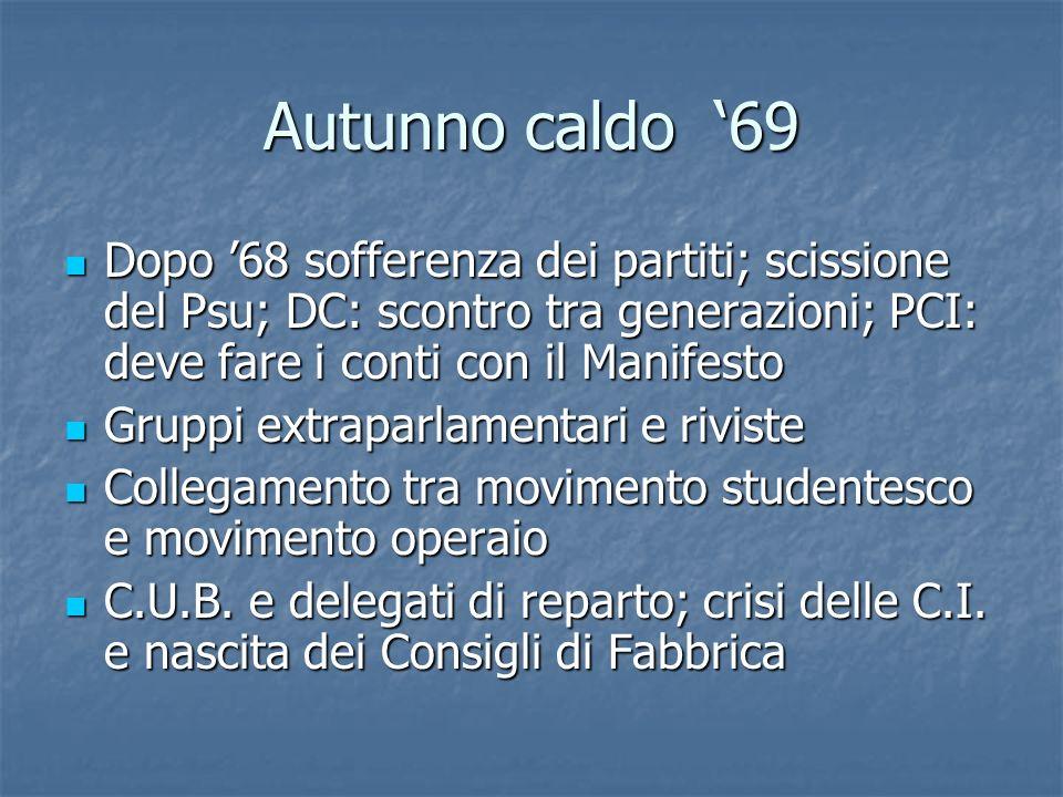 Autunno caldo 69 Dopo 68 sofferenza dei partiti; scissione del Psu; DC: scontro tra generazioni; PCI: deve fare i conti con il Manifesto Dopo 68 soffe