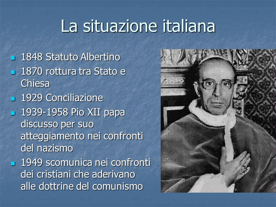 La situazione italiana 1848 Statuto Albertino 1848 Statuto Albertino 1870 rottura tra Stato e Chiesa 1870 rottura tra Stato e Chiesa 1929 Conciliazion