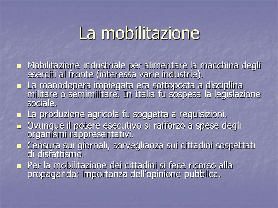 La mobilitazione Mobilitazione industriale per alimentare la macchina degli eserciti al fronte (interessa varie industrie). Mobilitazione industriale