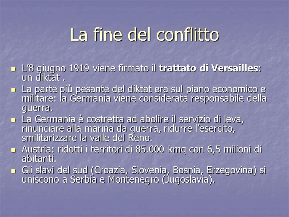 La fine del conflitto L8 giugno 1919 viene firmato il trattato di Versailles: un diktat. L8 giugno 1919 viene firmato il trattato di Versailles: un di