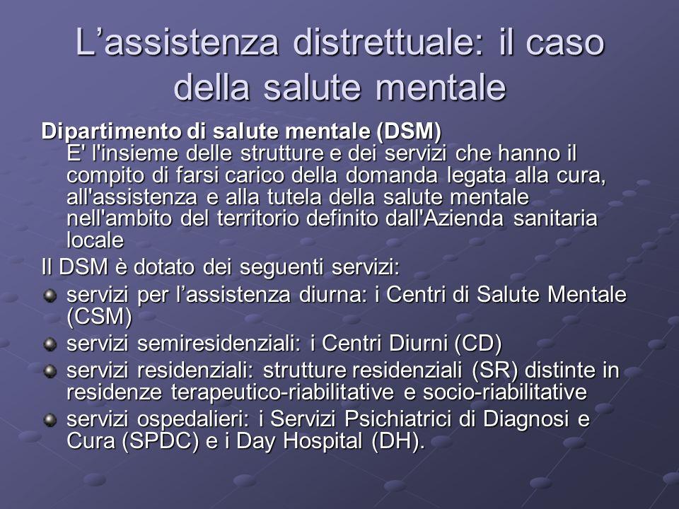 Lassistenza distrettuale: il caso della salute mentale Dipartimento di salute mentale (DSM) E' l'insieme delle strutture e dei servizi che hanno il co