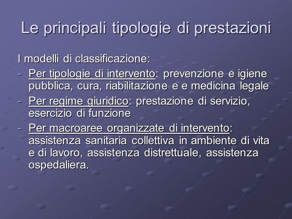 I modelli di classificazione: -Per tipologie di intervento: prevenzione e igiene pubblica, cura, riabilitazione e e medicina legale -Per regime giurid