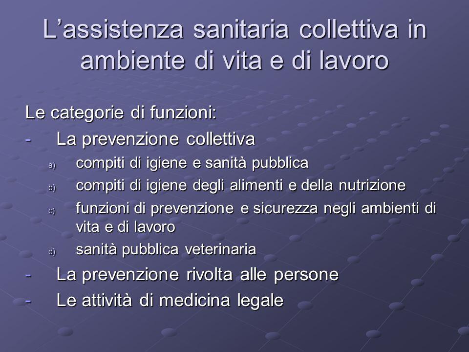 Le categorie di funzioni: -La prevenzione collettiva a) compiti di igiene e sanità pubblica b) compiti di igiene degli alimenti e della nutrizione c)