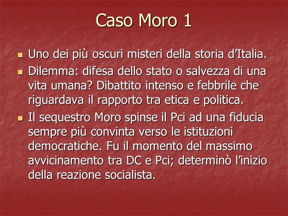 Caso Moro 1 Uno dei più oscuri misteri della storia dItalia. Uno dei più oscuri misteri della storia dItalia. Dilemma: difesa dello stato o salvezza d