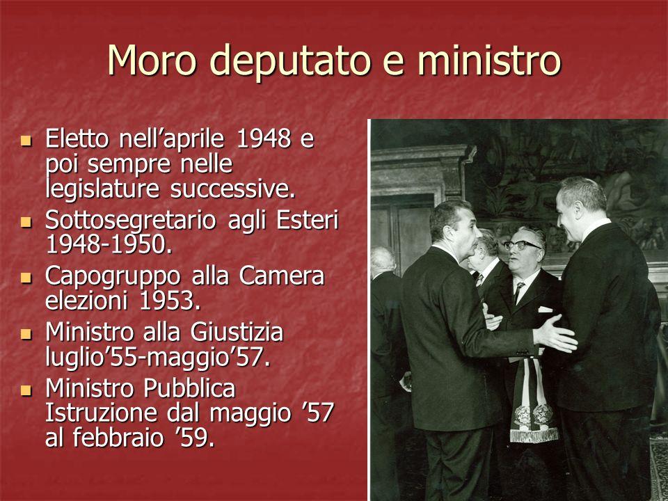 Moro deputato e ministro Eletto nellaprile 1948 e poi sempre nelle legislature successive. Eletto nellaprile 1948 e poi sempre nelle legislature succe