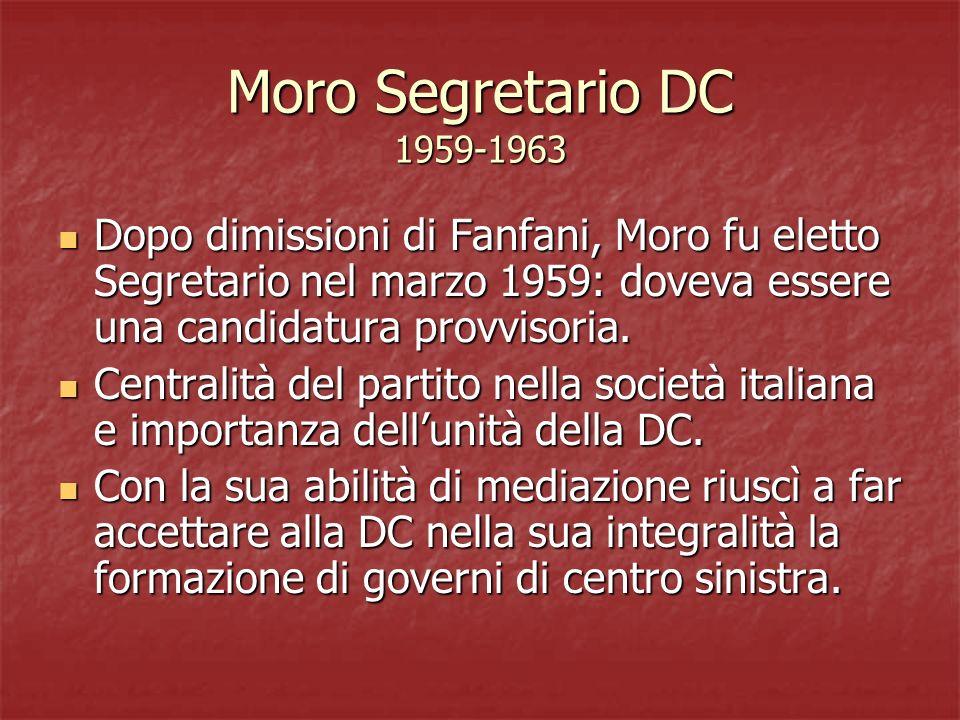 Moro Segretario DC 1959-1963 Dopo dimissioni di Fanfani, Moro fu eletto Segretario nel marzo 1959: doveva essere una candidatura provvisoria. Dopo dim