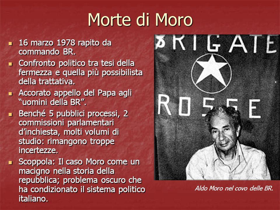 Morte di Moro 16 marzo 1978 rapito da commando BR. 16 marzo 1978 rapito da commando BR. Confronto politico tra tesi della fermezza e quella più possib