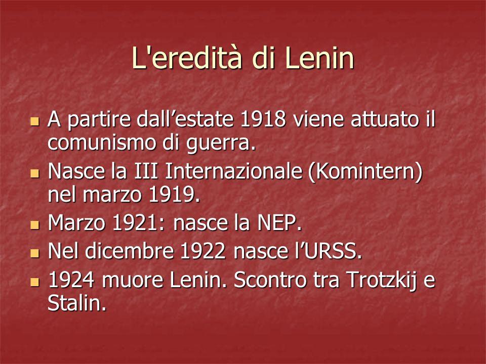 L'eredità di Lenin A partire dallestate 1918 viene attuato il comunismo di guerra. A partire dallestate 1918 viene attuato il comunismo di guerra. Nas