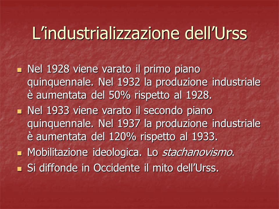 Lindustrializzazione dellUrss Nel 1928 viene varato il primo piano quinquennale. Nel 1932 la produzione industriale è aumentata del 50% rispetto al 19