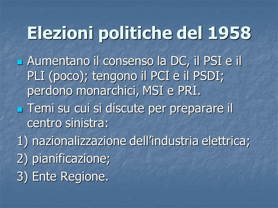 Elezioni politiche del 1958 Aumentano il consenso la DC, il PSI e il PLI (poco); tengono il PCI e il PSDI; perdono monarchici, MSI e PRI. Aumentano il