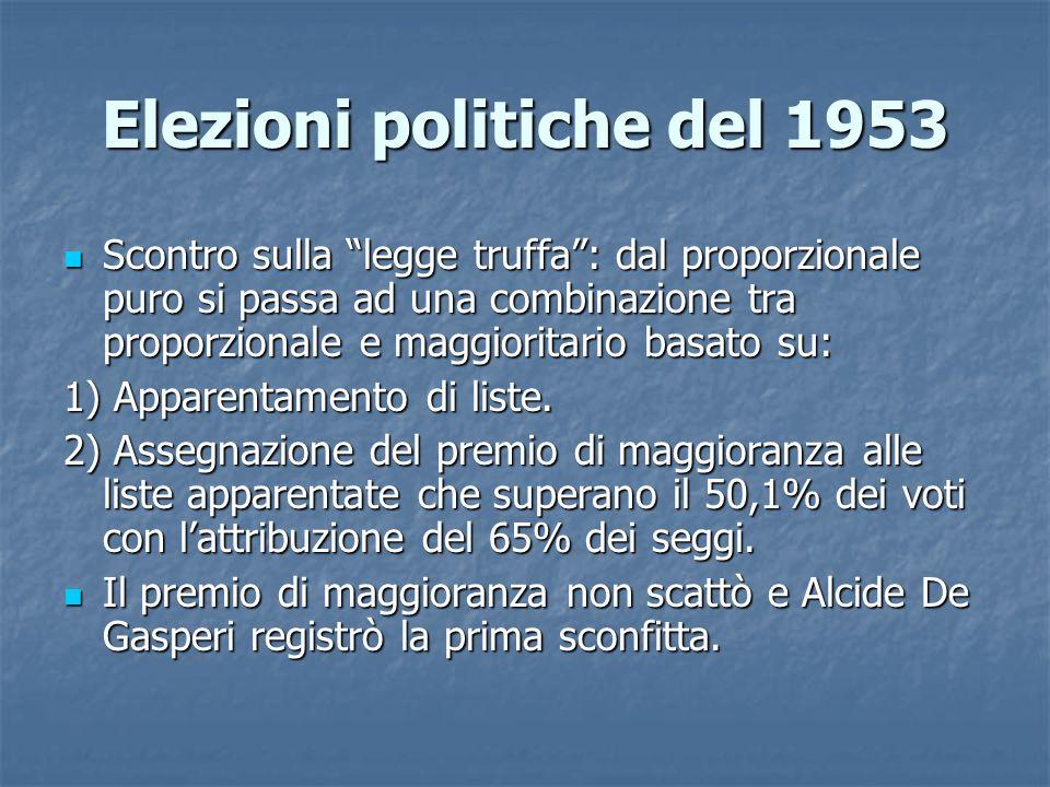 Elezioni politiche del 1953 Scontro sulla legge truffa: dal proporzionale puro si passa ad una combinazione tra proporzionale e maggioritario basato s