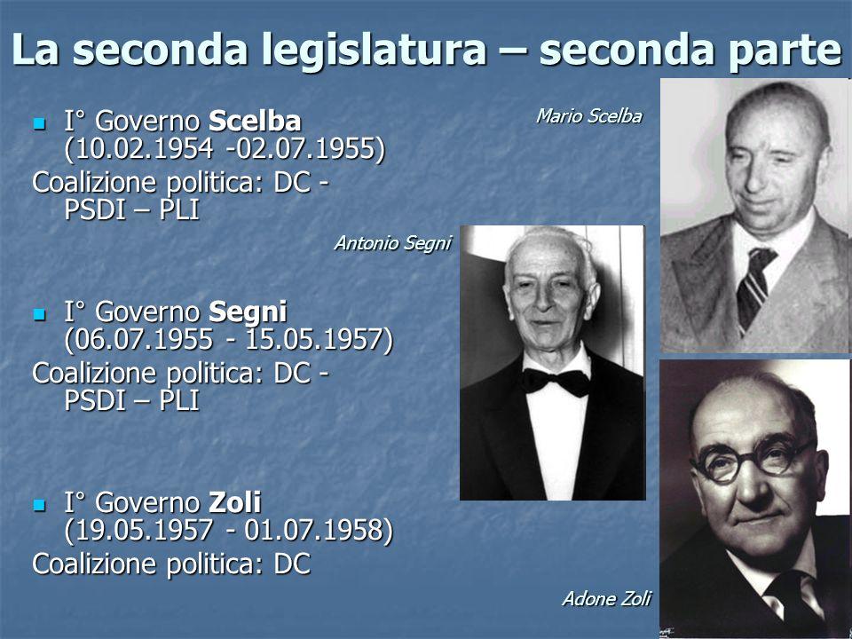 La seconda legislatura – seconda parte I° Governo Scelba (10.02.1954 -02.07.1955) I° Governo Scelba (10.02.1954 -02.07.1955) Coalizione politica: DC -