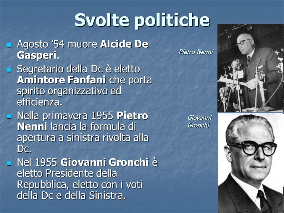 Svolte politiche Agosto 54 muore Alcide De Gasperi. Agosto 54 muore Alcide De Gasperi. Segretario della Dc è eletto Amintore Fanfani che porta spirito