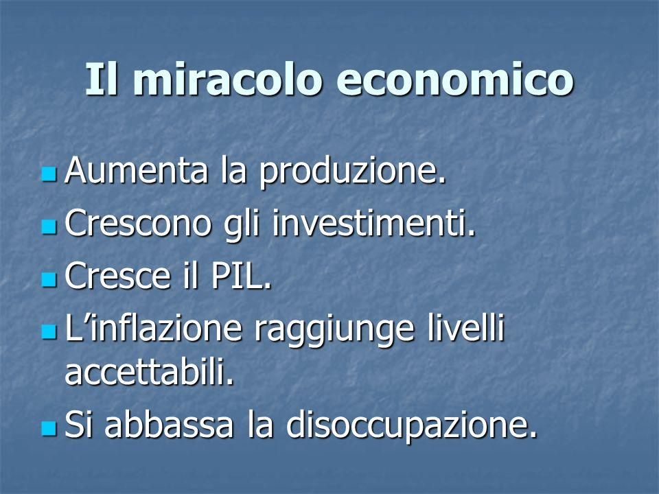 Il miracolo economico Aumenta la produzione. Aumenta la produzione. Crescono gli investimenti. Crescono gli investimenti. Cresce il PIL. Cresce il PIL