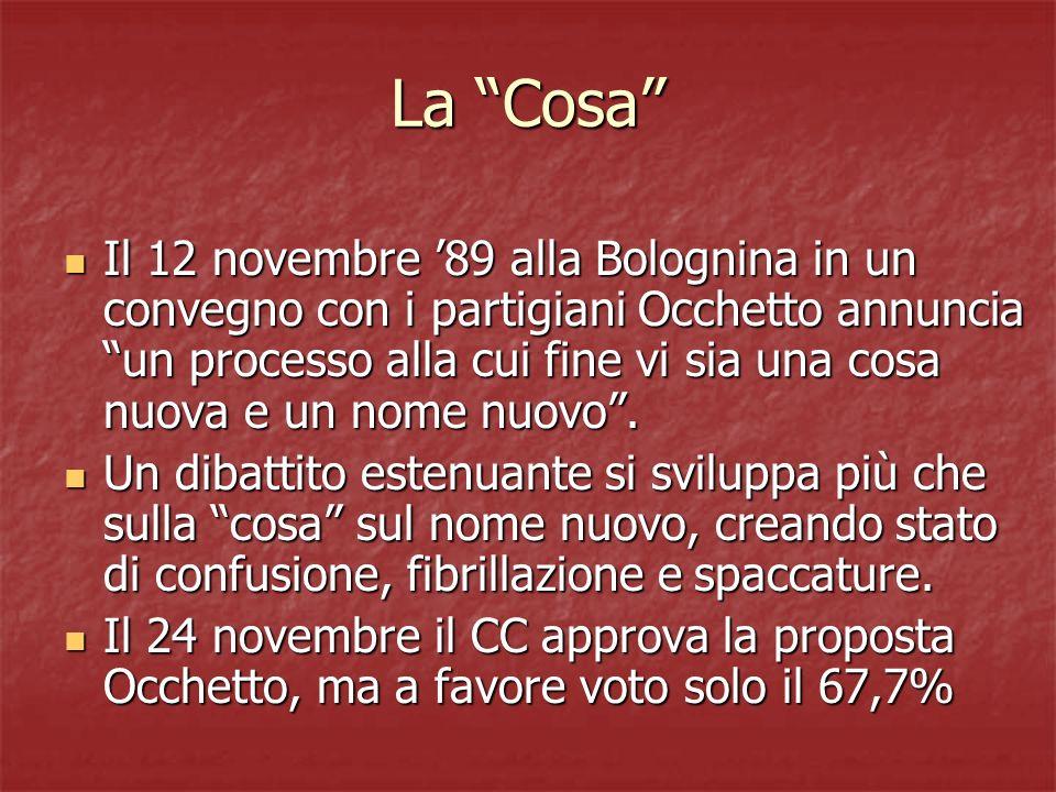 La Cosa Il 12 novembre 89 alla Bolognina in un convegno con i partigiani Occhetto annuncia un processo alla cui fine vi sia una cosa nuova e un nome nuovo.