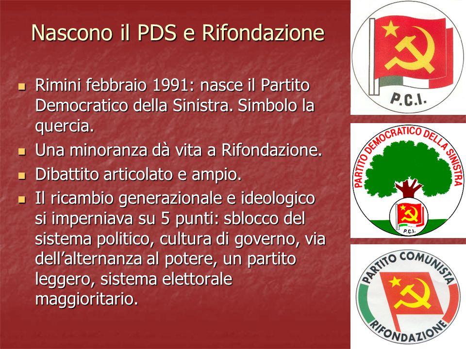 Nascono il PDS e Rifondazione Rimini febbraio 1991: nasce il Partito Democratico della Sinistra.