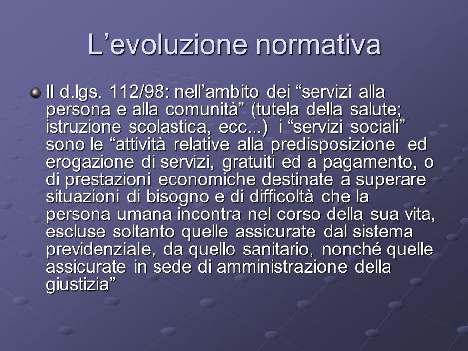 Levoluzione normativa Il d.lgs. 112/98: nellambito dei servizi alla persona e alla comunità (tutela della salute; istruzione scolastica, ecc...) i ser