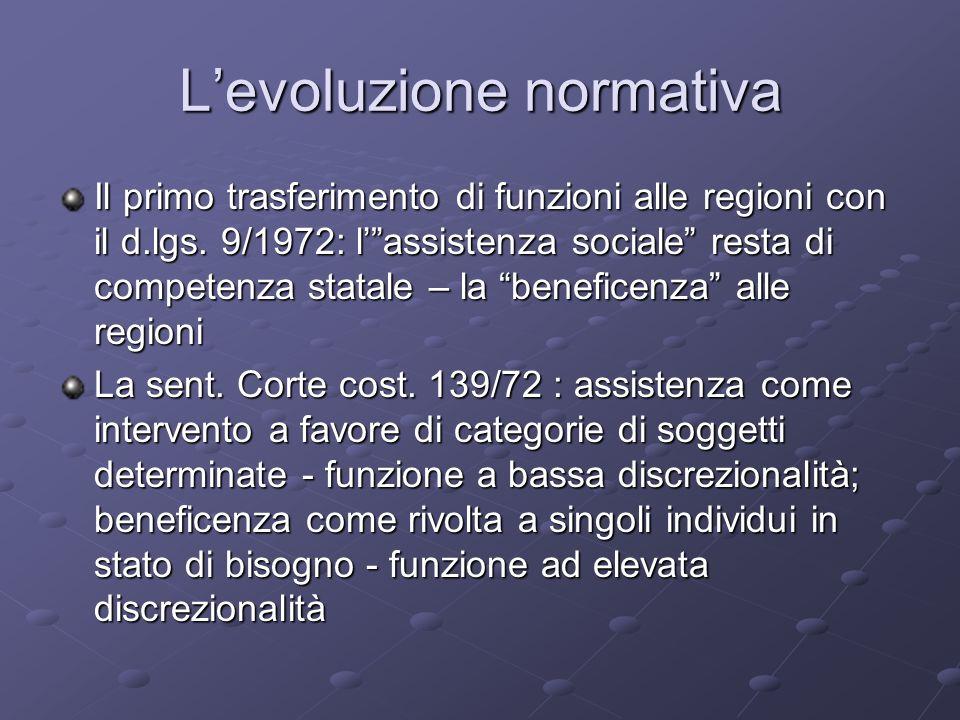 Levoluzione normativa Il primo trasferimento di funzioni alle regioni con il d.lgs. 9/1972: lassistenza sociale resta di competenza statale – la benef