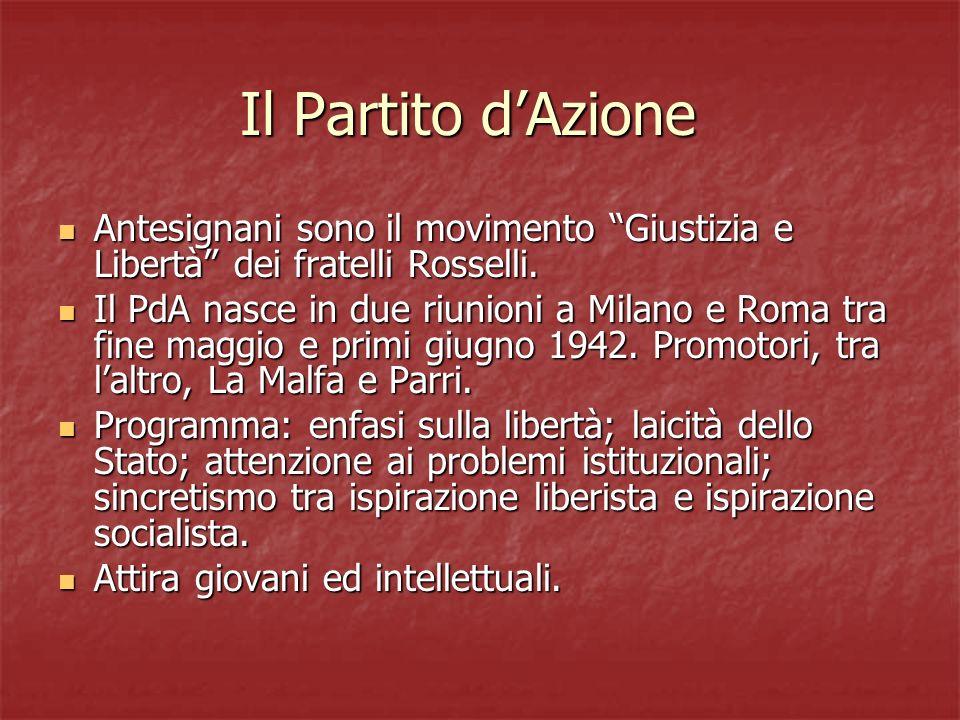 Scioglimento del partito del PdA I contrasti esplodono al primo Congresso (Roma, 4-8 febbraio 1946).