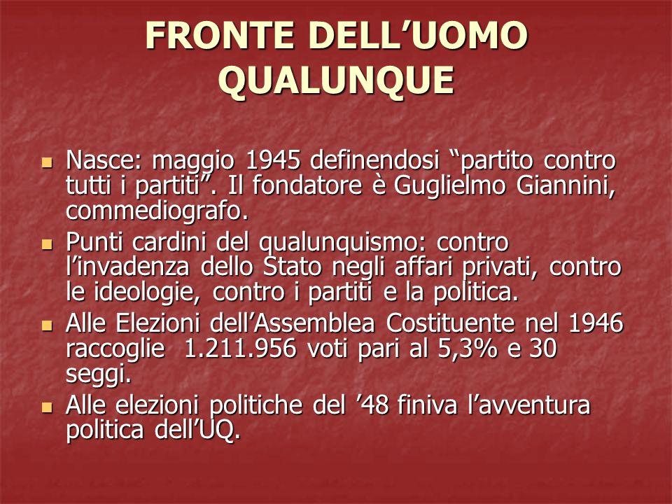 FRONTE DELLUOMO QUALUNQUE Nasce: maggio 1945 definendosi partito contro tutti i partiti. Il fondatore è Guglielmo Giannini, commediografo. Nasce: magg